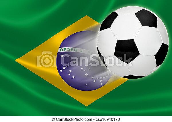 labda, csésze, 2014:, repülés, lobogó, brazíliai, világ, futball, ki - csp18940170