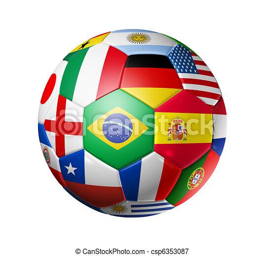labda, foci sportcsapat, zászlók, világ, futball - csp6353087