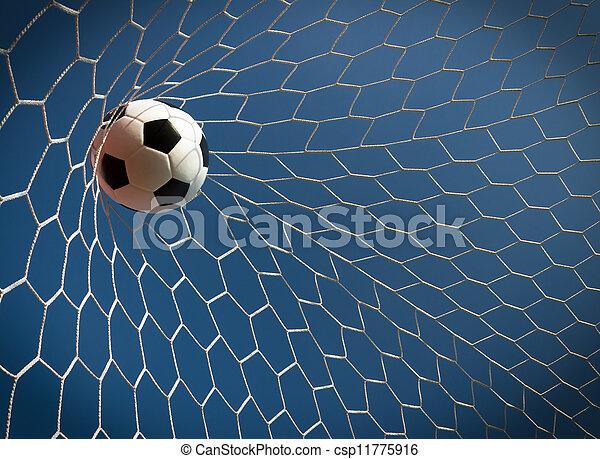 labda, futball kapu, fogalom, siker - csp11775916