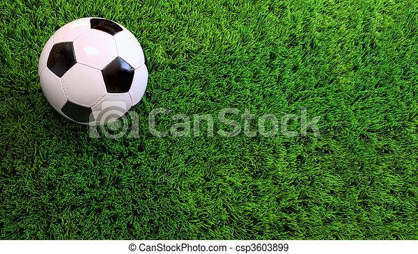 labda, futball, zöld fű - csp3603899