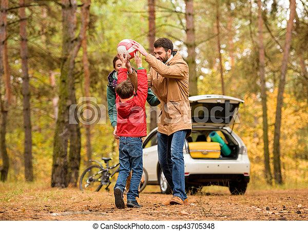 labda, játék, család, boldog - csp43705348