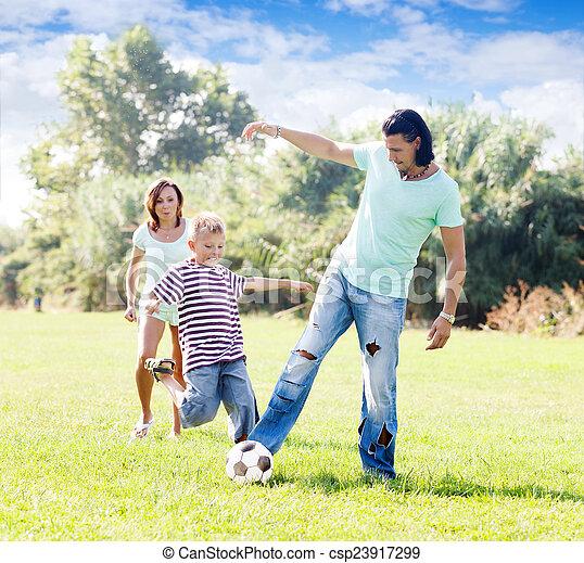 labda, játék, három, család - csp23917299