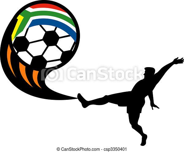 labda, rúgás, csésze, afrika, játékos, lobogó, köztársaság, világ, futball, 2010, déli, ikon - csp3350401