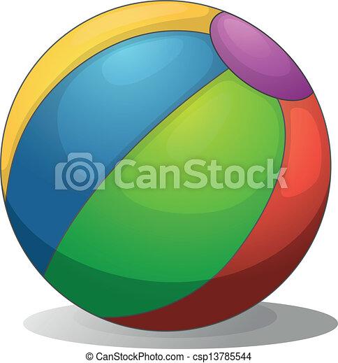 labda, tengerpart, színes - csp13785544