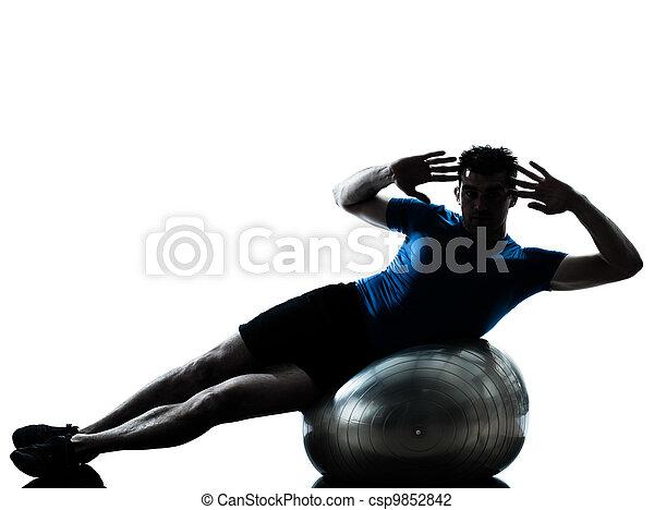 labda, tréning, gyakorlás, állóképesség, ember, testtartás - csp9852842