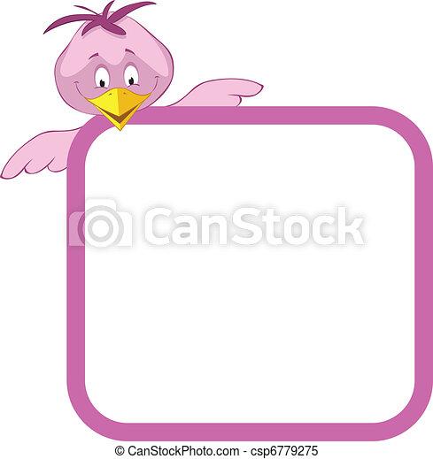 Label frame birds. Label frame - funny birds.