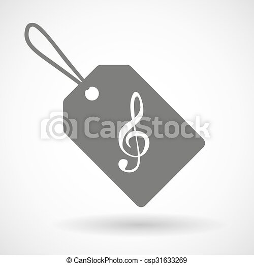 Label icon with a g clef - csp31633269