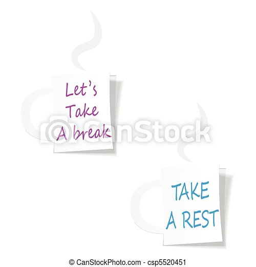 Label mugs with slogans calling for the rest. - csp5520451