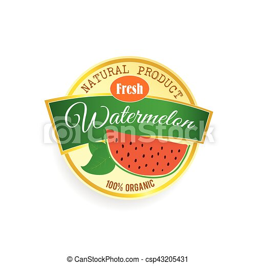 label of fruit watermelon illustration in colorful - csp43205431