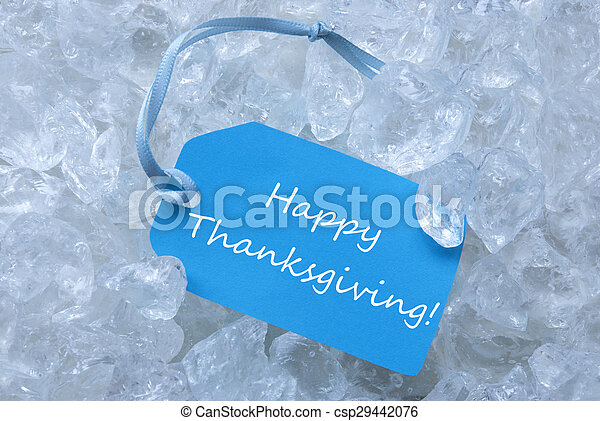 Label On Ice With Happy Thanksgiving - csp29442076