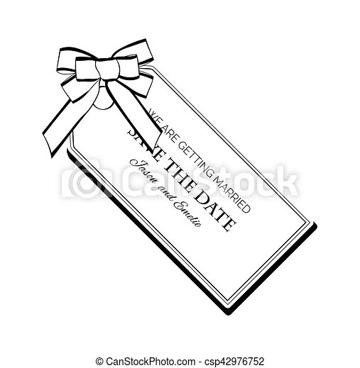 Label Ribbon Bow Wedding Invintation Template Save The Date Vector Illustration Isolated On White Background