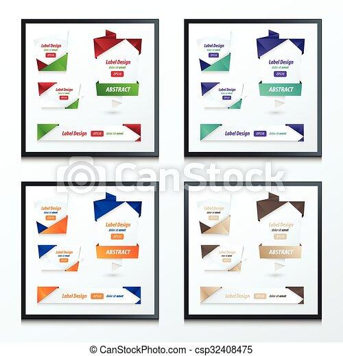 Label, Ribbon Origami, 2 color set - csp32408475