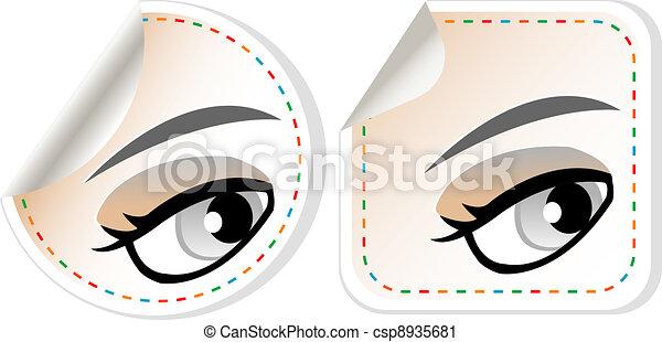 label set woman brown eye with pastel color makeup - csp8935681