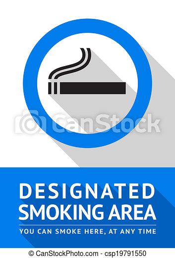 Label smoking area sticker, flat design - csp19791550