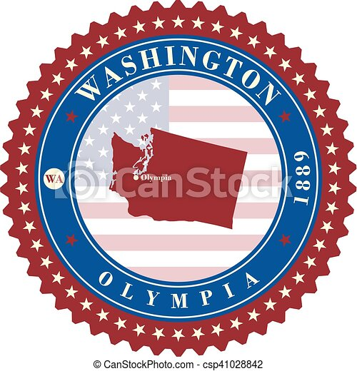 Label Sticker Cards Of State Washington Usa Stylized Badge With The