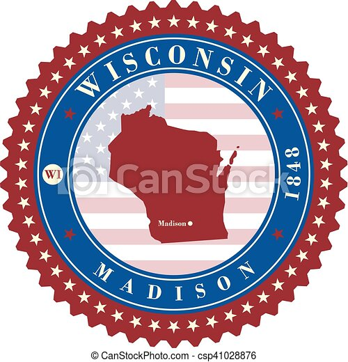Label sticker cards of State Wisconsin USA - csp41028876