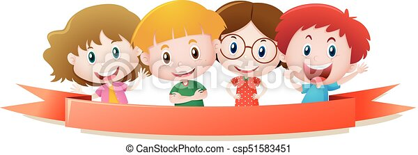 Label template with four kids smiling - csp51583451