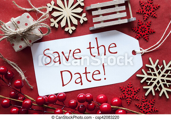 Save The Date Christmas Cards.Label With Christmas Decoration English Text Save The Date