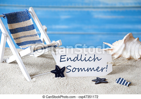 Label with deck chair endlich sommer means happy summer summer label with deck chair endlich sommer means happy summer csp47351172 m4hsunfo