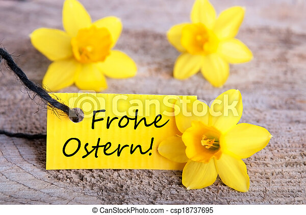 Label with Frohe Ostern - csp18737695