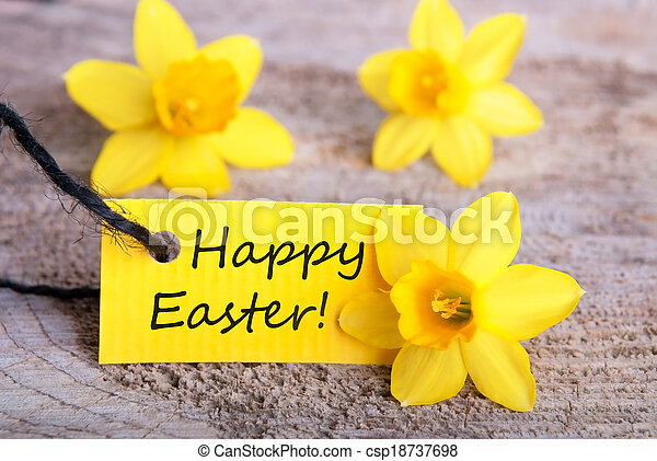 Label with Happy Easter - csp18737698