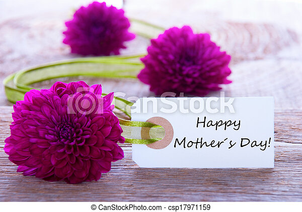Label With Happy Mothers Day And Purple Flowers And Green Ribbon