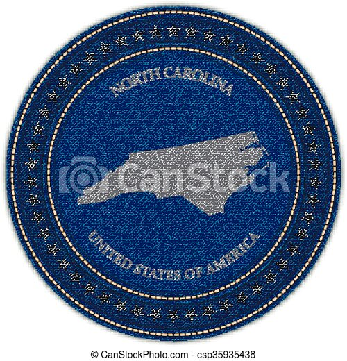 Label with map of north carolina. Denim style. - csp35935438