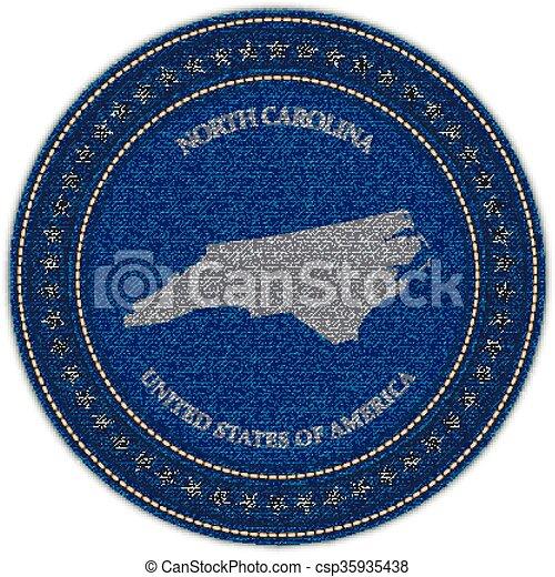 Label with map of north carolina. Denim style. - csp35935438