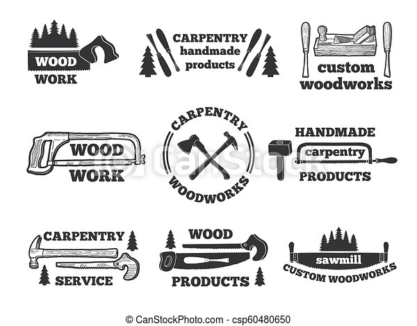 Labels For Woodworking Shop Monochrome Illustrations With Carpentry