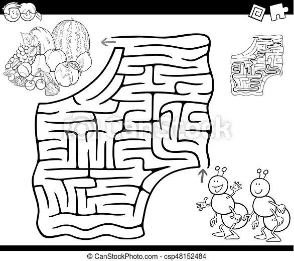 Maze Con Hormigas Y Frutas Para Colorear Ilustracion De Dibujos