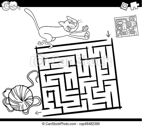 Maze con gato y pagina de coloración de lana - csp48482399
