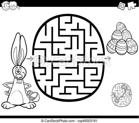 Actividad del laberinto de Pascua para colorear - csp49303181