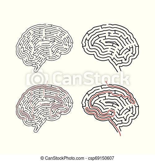 Dos laberintos complicados en forma cerebral, laberintos con soluciones rojas en blanco - csp69150607