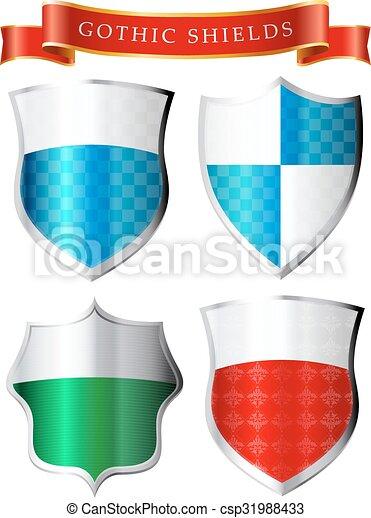labesl gothic shields
