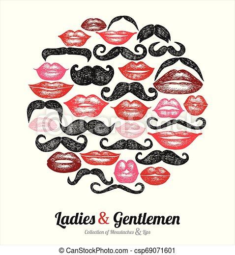Colección de bigotes y labios - csp69071601