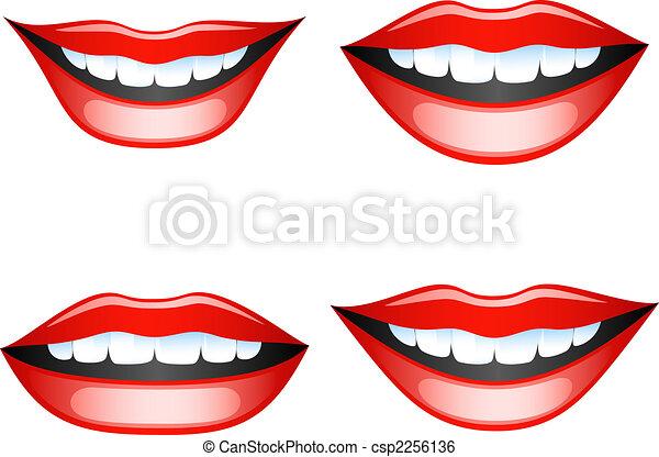 Labios Conjunto Lips Aislado Eps Vector White Hembra