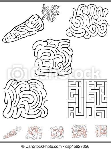 labirinto, gioco, set, ozio - csp45927856