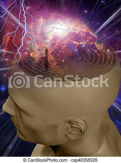 labirinto, mente - csp40358326