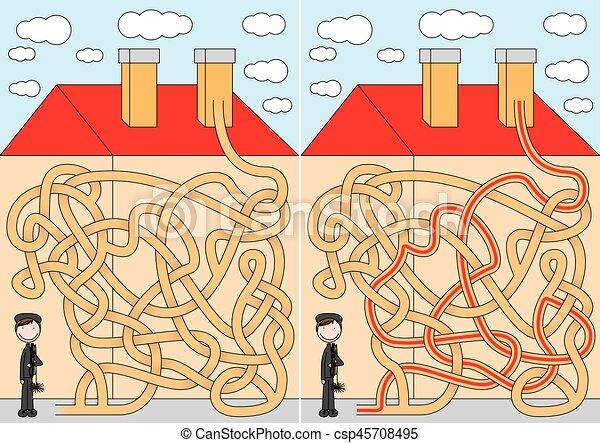 labirinto, varredor, chaminé - csp45708495