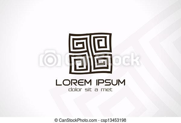 labirynt, abstrakcyjny, rebus, logo., zagadka, logic. - csp13453198