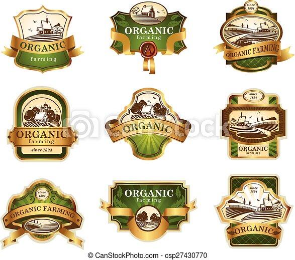 lables, agriculture, organique - csp27430770