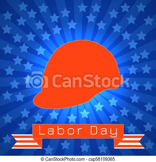Labor Day In The United States 3 September Red Construction Helmet Tape With Text Event Name Blue Rays Stars