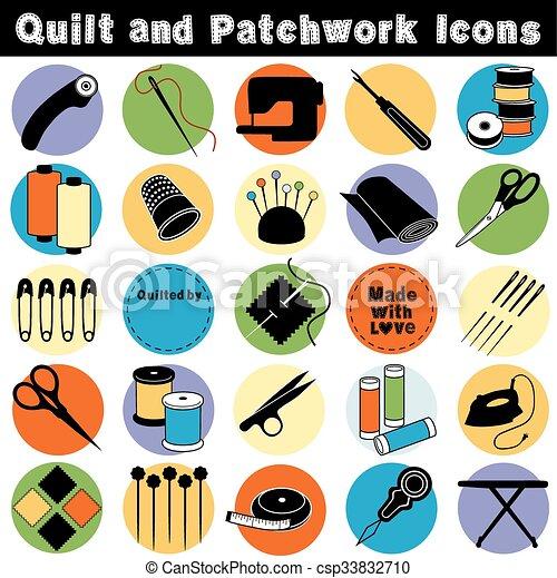 Quilt y icocns de parches - csp33832710