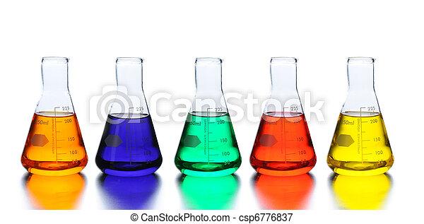 laboratorium, vijf, bekers - csp6776837