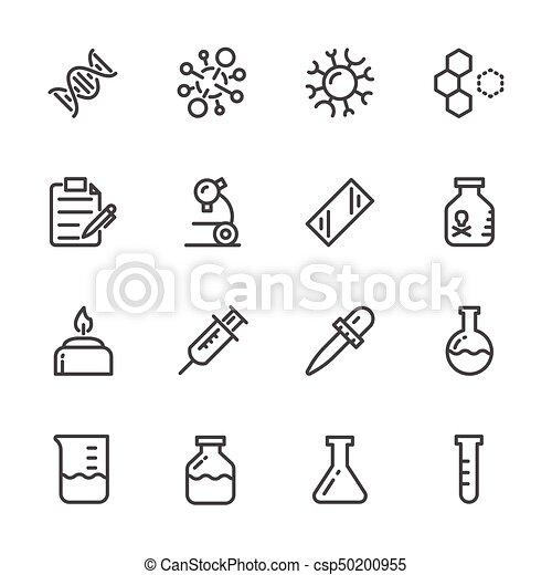 Laboratory equipment Icons set. Vector line icons - csp50200955