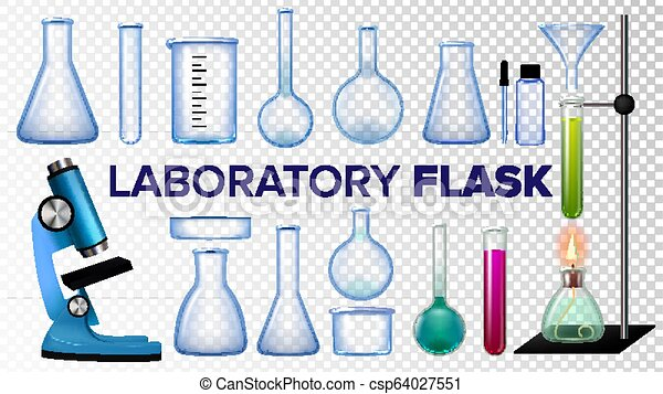 Laboratory Flask Set Vector  Chemical Glass  Beaker, Test-tubes,  Microscope  Empty Equipment For Chemistry Experiments  Isolated Realistic  Transparent