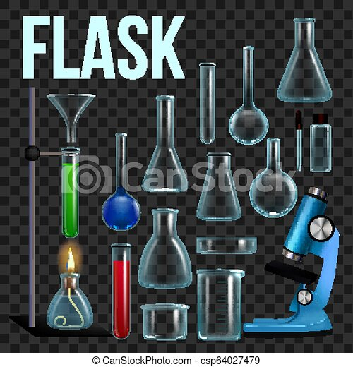 Laboratory Flask Set Vector  Glassware, Beaker  Empty Equipment For  Chemistry Experiments  Chemical Lab Instruments  Microscope  Isolated  Realistic