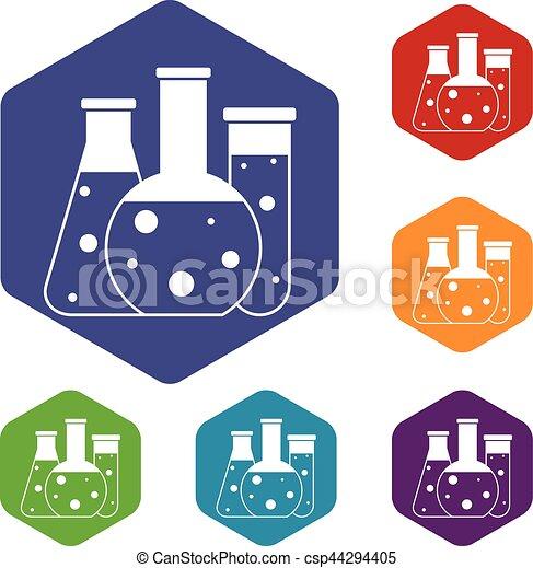 Laboratory flasks icons set - csp44294405