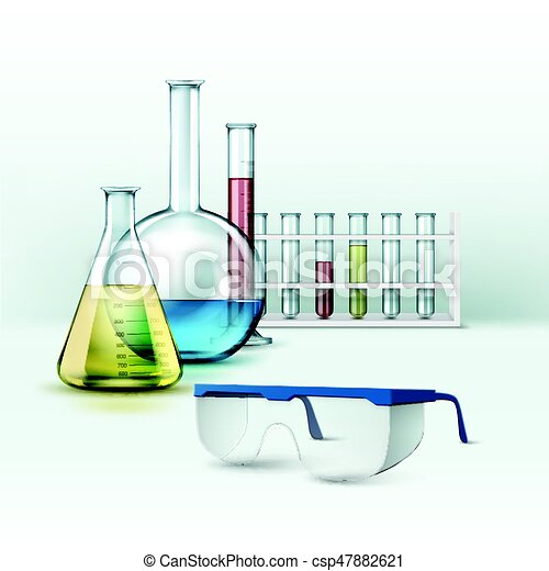 Laboratory flasks with glasses - csp47882621