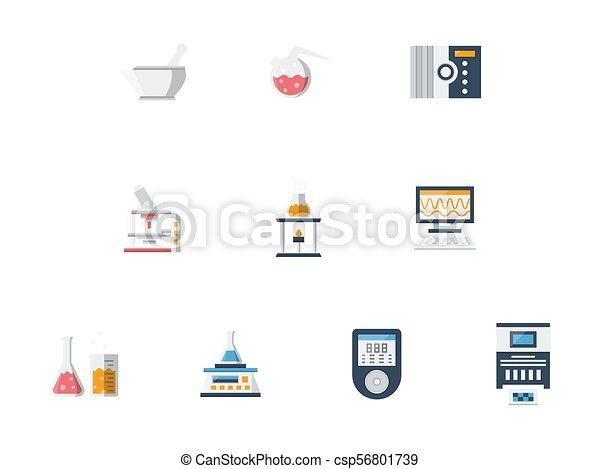Laboratory Flat Color Vector Icons Set Symbols Of Laboratory